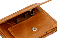 Garzini RFID Leather Magic Coin Wallet Plus Brushed - Cognac - 5