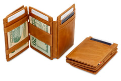Garzini RFID Leather Magic Coin Wallet Plus Brushed - Cognac - 7