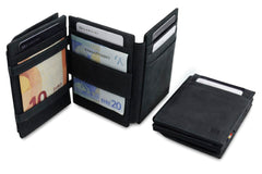 Garzini RFID Leather Magic Coin Wallet Plus - Black