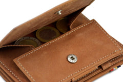 Garzini RFID Leather Magic Coin Wallet Plus - Cognac