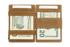 Garzini RFID Leather Magic Coin Wallet Plus Vintage-Cognac