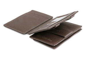 Garzini RFID Leather Magic Coin Wallet Plus Nappa-Brown