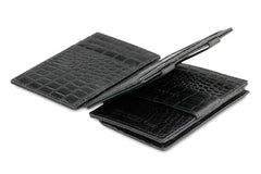 Garzini RFID Leather Magic Coin Wallet Plus Croco - Black - 3