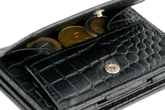 Garzini RFID Leather Magic Coin Wallet Plus Croco - Black - 5