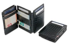 Garzini RFID Leather Magic Coin Wallet Plus Croco - Black - 6