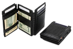 Garzini RFID Leather Magic Coin Wallet Plus Croco - Black - 7