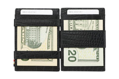 Garzini RFID Leather Magic Coin Wallet Plus Croco - Black - 9