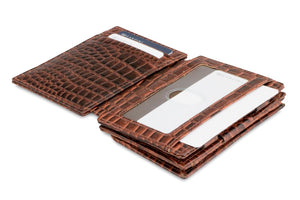 Garzini RFID Leather Magic Coin Wallet Plus Croco-Brown