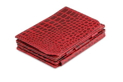 Garzini RFID Leather Magic Coin Wallet Plus Croco - Red - 1