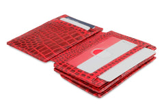 Garzini RFID Leather Magic Coin Wallet Plus Croco - Red - 4