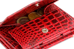 Garzini RFID Leather Magic Coin Wallet Plus Croco - Red - 5