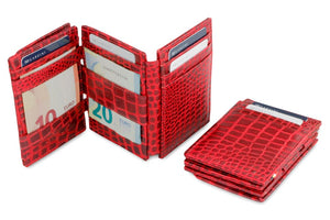 Garzini RFID Leather Magic Coin Wallet Plus Croco-Red
