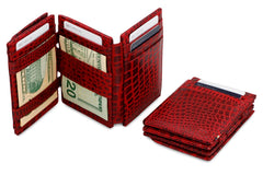 Garzini RFID Leather Magic Coin Wallet Plus Croco - Red - 7