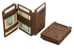 Garzini RFID Leather Magic Coin Wallet Plus - Brown