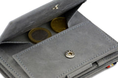 Garzini RFID Leather Magic Coin Wallet Plus - Grey