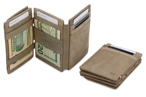 Garzini RFID Leather Magic Coin Wallet Plus Vintage-Grey