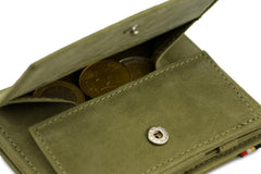 Garzini RFID Leather Magic Coin Wallet Plus - Green