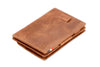 Garzini RFID Leather Magic Coin Wallet Card Sleeve Brushed-Brown
