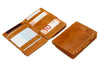 Garzini RFID Leather Magic Coin Wallet Card Sleeve Brushed-Cognac