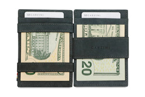 Garzini RFID Leather Magic Coin Wallet Card Sleeve Vintage-Black