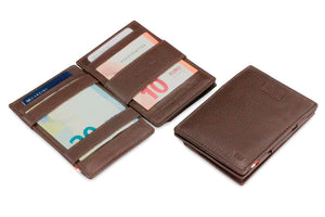 Garzini RFID Leather Magic Coin Wallet Card Sleeve Nappa-Brown