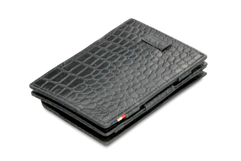 Garzini RFID Leather Magic Coin Wallet Card Sleeve Croco-Black