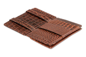 Garzini RFID Leather Magic Coin Wallet Card Sleeve Croco-Brown