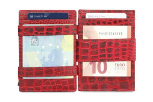 Garzini RFID Leather Magic Coin Wallet Card Sleeve Croco-Red