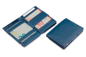 Garzini RFID Leather Magic Coin Wallet Card Sleeve Nappa-Blue