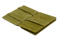 Garzini RFID Leather Magic Coin Wallet Card Sleeve Vintage - Green - 3