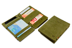 Garzini RFID Leather Magic Coin Wallet Card Sleeve Vintage - Green - 4