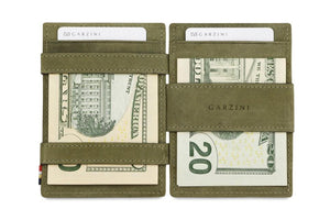 Garzini RFID Leather Magic Coin Wallet Card Sleeve Vintage-Green