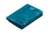 Garzini RFID Leather Magic Coin Wallet Card Sleeve Vintage-Blue