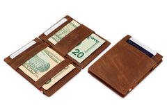 Garzini RFID Leather Magic Wallet Brushed - Brown - 6