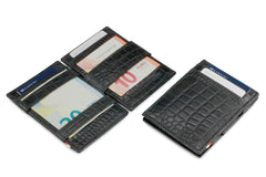 Garzini RFID Leather Magic Wallet Croco - Black - 5