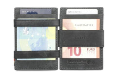 Garzini RFID Leather Magic Wallet ID Window Brushed - Black - 6