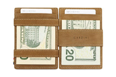 Garzini RFID Leather Magic Wallet ID Window - Cognac