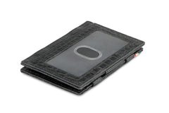 Garzini RFID Leather Magic Wallet ID Window Croco - Black - 1