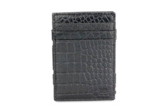 Garzini RFID Leather Magic Wallet ID Window Croco - Black - 2