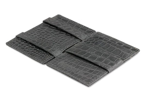 Garzini RFID Leather Magic Wallet ID Window Croco-Black