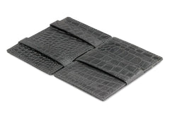 Garzini RFID Leather Magic Wallet ID Window Croco - Black - 3