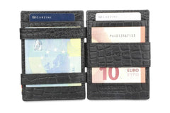 Garzini RFID Leather Magic Wallet ID Window Croco - Black - 6