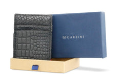 Garzini RFID Leather Magic Wallet ID Window Croco - Black - 7