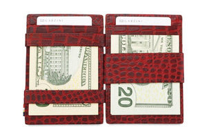 Garzini RFID Leather Magic Wallet ID Window Croco-Red