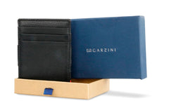 Garzini RFID Leather Magic Wallet ID Window Nappa - Black - 9