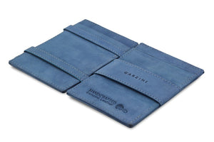 Garzini RFID Leather Magic Wallet ID Window Vintage-Blue