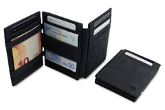 Garzini RFID Leather Magic Wallet ID Window - Black