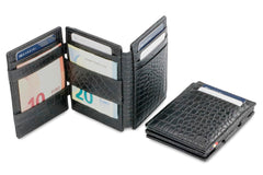 Garzini RFID Leather Magic Wallet Plus Croco - Black - 5