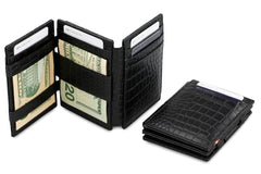 Garzini RFID Leather Magic Wallet Plus Croco - Black - 6
