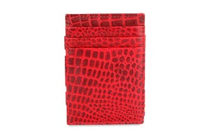 Garzini RFID Leather Magic Wallet Plus Croco-Red